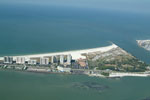 Pictured are the Grande and the Meridian which are beachfront condominium complexes directly on the Gulf of Mexico